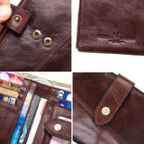 Men's Rfid Genuine Leather Zipper & Hasp Wallet