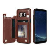Card Holder Leather Case For Samsung Galaxy S9 S8 Plus Note 8