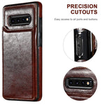 Luxury Leather Wallet Case For Samsung S10 S10E S10 Plus
