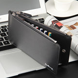 Fashion Men Leather Large Capacity Bifold Zipper Wallet