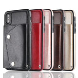 Leather Card Slot Holder Case For iPhone X 8 7 6 Plus