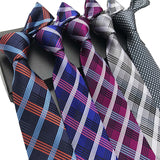 Business Luxury Silk Jacquard Woven Plaid Check Striped Classic Necktie