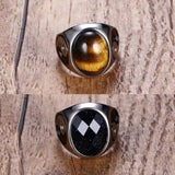Men Oval Tiger Eye Brown Stone With Signet Ring In Stainess Steel