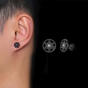 10mm Punk Star of Stud Hoop Earings Stainless Steel
