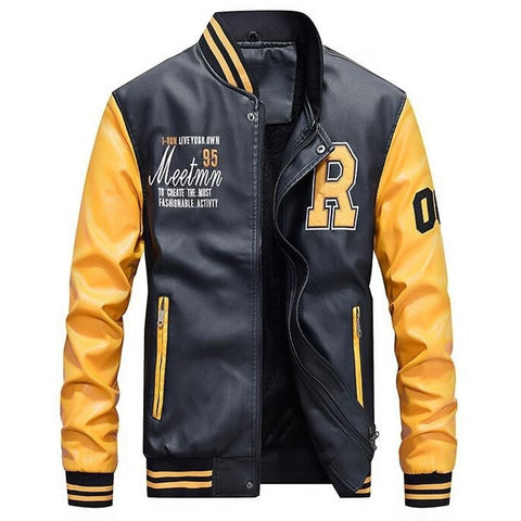 Luxury Embroidered Leather Slim Fit Baseball Jackets