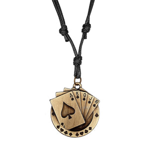 100% High Quality Brand New Poker Pendant Adjustment Leather Necklace