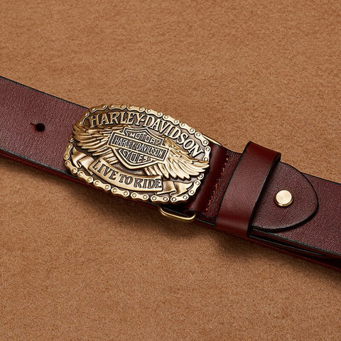 Genuine Leather Punk Hip Hop Locomotive Men Belt Pure Copper Plate Smooth Buckle
