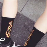 Cotton Fire Flame Skateboard Hip Hop Europe Korea Harajuku Socks