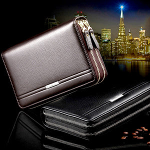 Men Business Leather Clutch Large Capacity Double Zipper