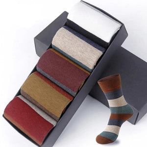 Men's 5Pair/Lot Fashion Colorful Large Stripe Four Seasons Casual Combed Cotton Socks