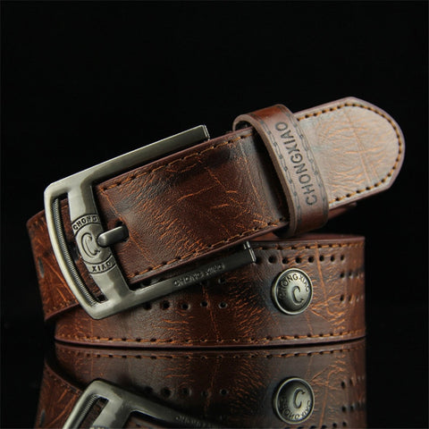 Men's Punk Style Hollow Rivet Denim Casual Belt