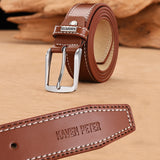 Men's Leather High Quality Classic Belt Alloy Pin Buckle