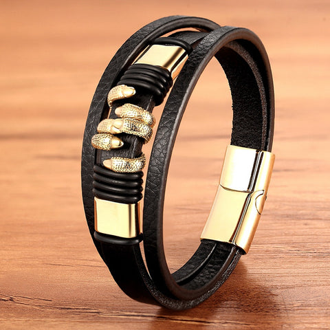 Paw Design Multi layer Men's Stainless Steel Leather Bracelet