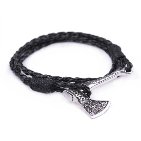 Vintage Wrap Indian Viking Axe Leather Charm Bracelet