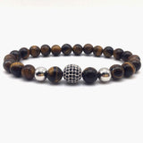 Stone Beads And Black CZ Ball Men Charm Bracelets