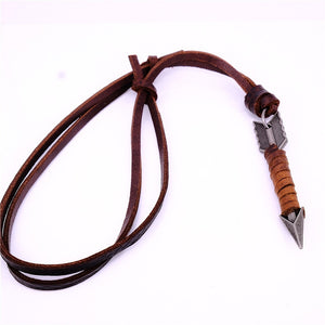 Long Necklace 100% Genuine Leather Adjustable Pendant Necklace Brown Black Rope Chain
