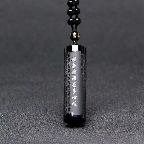 Natural Obsidian Pendant Prajna Paramita Sutra Buddha Necklace Pendant With Lucky Beads Chain