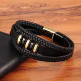 New Men's Genuine Leather Bracelet 3 Layers Gold Punk Style Design with Steel Magnetic Button