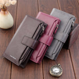 New Luxury Retro Genuine Leather Slim Long Wallet High Quality High Capacity Zipper Design