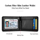 Black Carbon Fiber Money Clip Wallet with Card Pocket
