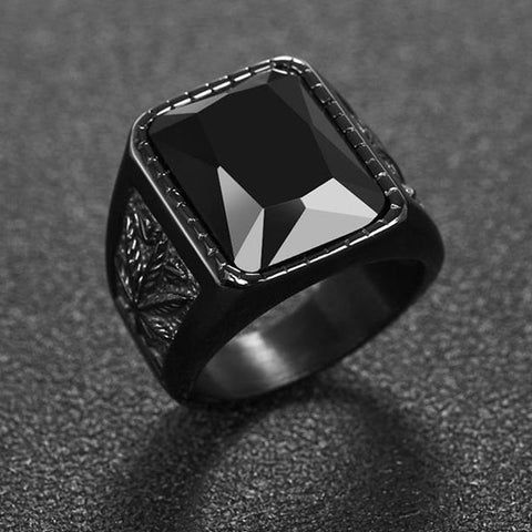 Retro Rock Punk Signet Square Stone Titanium Steel Ring