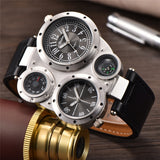 Luxury Unique Sports Men's Quartz Watche 2 Time Zone Decorative Thermometer and Compass