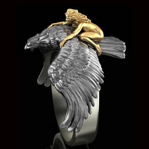 Fashion 3D Flying Eagle Angel Ring