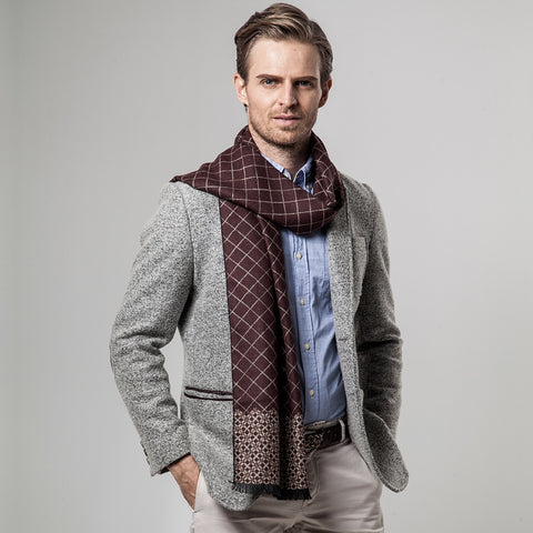 New Brand Winter Men's Plaid Cashmere Scarf