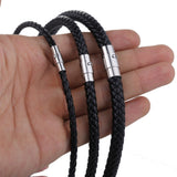 Personalized Men's Choker Black Brown Braided Leather Necklace Stainless Steel Magnetic Clasp