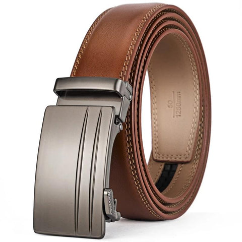 Elegant Genuine Cow Leather Formal Belt For Men Automatic Buckle