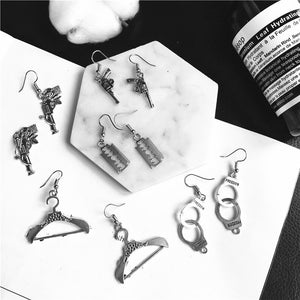 Punk Cheap Sliver Handcuffs Blade Gun Drop Earrings