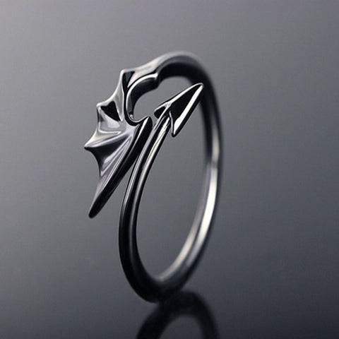 Punk Style Titanium Brass Koakuma Little Devil Dragon Open Ring
