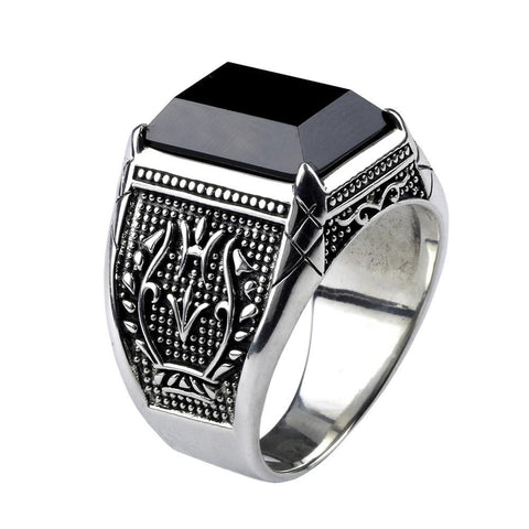 Real Pure 925 Sterling Silver Mens Ring With Black Onyx Natural Stone