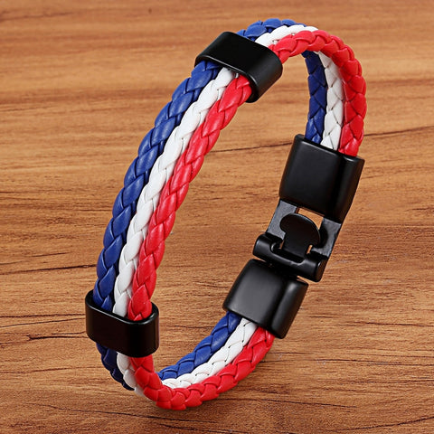 Representative Meaning National Flag Design Leather Men Stainless Steel Bracelet