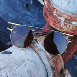 Vintage Round Circle Steampunk Sunglasses UV Protection