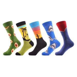 5 pairs/lot Men's Funny Pattern Combed Cotton Socks