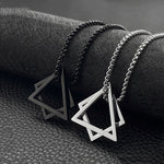 Geometric Stainless Steel Square Triangle Pendant Necklace