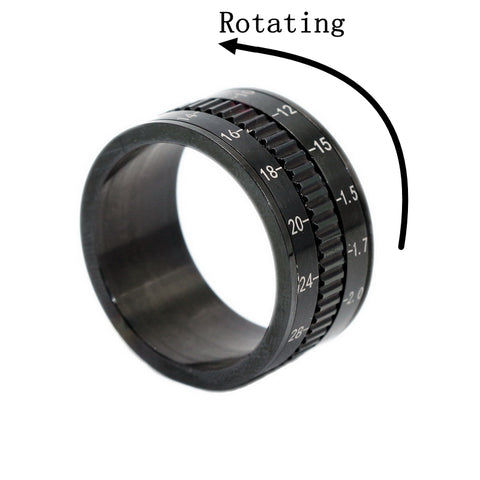 Stainless Steel Black Plated Camera Lens Design Spinner Ring