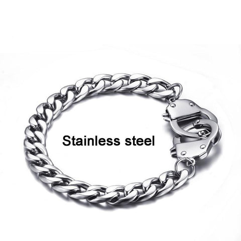 Stainless Steel Handcuff Chain Link Bracelet