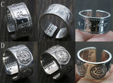 Retro Thai Silver Wide Surface Scripture Ring Male Open Ended Exaggerated