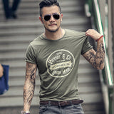 Summer Men New Street Trend Printed Short Sleeve Retro Round Neck Slim T-shirt