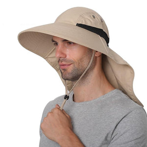 2020 Summer Sun Hat Men Women Cotton with Neck Flap Outdoor UV Protection