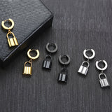 Uncommon Souls Padlock Drop Earrings In Black Golden Silverly Stainess Steel