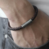 Unique Vintage Men's Black Multilayer Braided Leather Bracelet