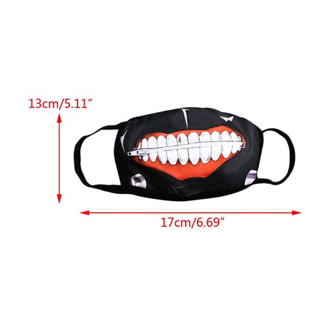 Unisex Anti Dust Mouth Mask Cartoon Zipper Teeth Print Cosplay