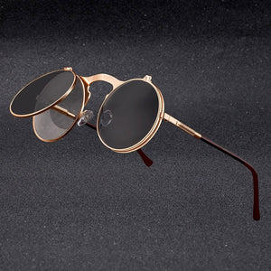 Vintage Steampunk Flip Sunglasses Retro Round Metal Frame for Men Women