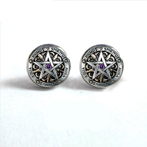 Wiccan Ear Nail Magick Wicca Pentagram Occult Stud Earrings