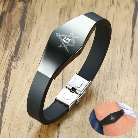 Men's Stylish Masonic Black Silicone Bracelet with Anti Allergy Stainless Steel Custom Engrave ID Tag
