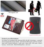 Genuine Leather Rfid Wallet with Passport Cover ID Card Holder