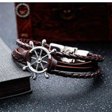Ship's wheel Couple Hope Rudder Zinc Alloy Leather Charm Bracelet